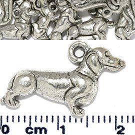 20pc Spacer Jewelry Part Wiener Dog Silver JF1730