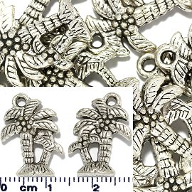 15pc Spacer Jewelry Part Palm Tree Silver JF1739