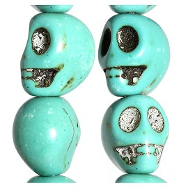 16pc 13x13x11mm Skull Earth Stone Spacer Turquoise JF1742