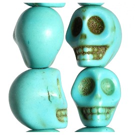 40pc 10x9x8mm Earth Stone Skull Spacer Turquoise JF1743