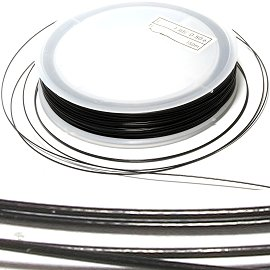Metal String 0.5mm Thick Spool Black Plastic Coating 50m JF1758