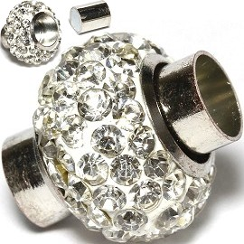 1pc 15x15mm Magnetic End Clasp Rhinestone White JF1759
