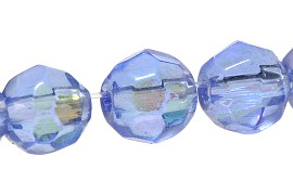 55pcs Crystal 6mm Round Multifaceted Spacer Baby Blue Jf1797