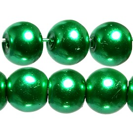 140pc 6mm Faux Pearl Smooth Bead Shiny Green JF1821