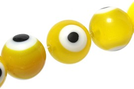 40pcs Spacer Eye Ball 10mm Yellow JF1841
