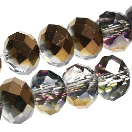 50Pcs 8mm Crystal Beads Brown Clear JF1902