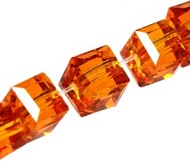 100pcs 4mm Cube Crystal Bead Spacer Orange JF1945