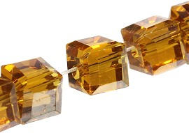 100pcs 5mm Cube Crystal Bead Brown AB JF1950