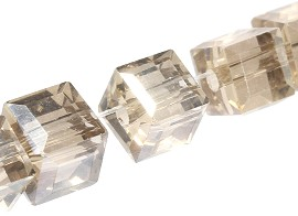 100pcs 5mm Cube Crystal Beads Light tan Crystal JF1952