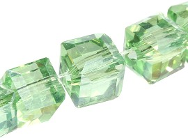 100pcs 5mm Cube Crystal Bead Spacer Light Green AB JF1958