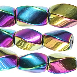 44pcs 9x7mm Magnetic Hematite Rectangle Beads Borealis JF2027