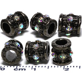 6pcs Spacers Rhinestone Barrels Round Circle Black JF2029