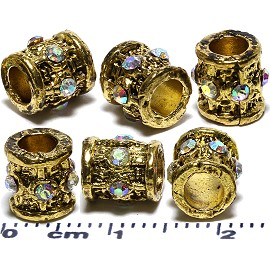 6pcs Spacers Rhinestone Barrels Round Circle Gold JF2030
