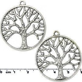 2 pcs Circle Tree Of Life Silver Tone Jewelry Spacer Part JF2033