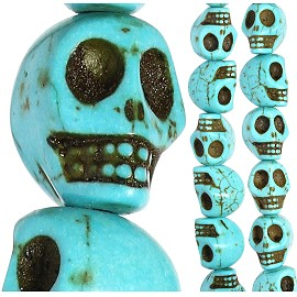 27pcs 15x14x12mm Skull Earth Stone Spacer Turquoise JF2034