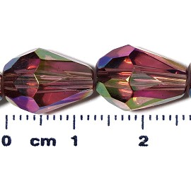 26pc 13x10mm Teardrop Crystal Spacer Bead Dark Purple JF2057