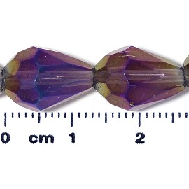 26pc 13x10mm Teardrop Crystal Spacer Bead AB Light Purple JF2061