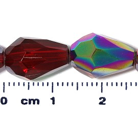 26pc 13x10mm Teardrop Crystal Spacer Bead AB Dark Red JF2063