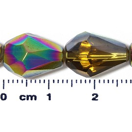 26pc 13x10mm Teardrop Crystal Spacer Bead AB Gold JF2064