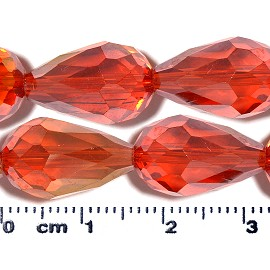 50pc 16x10mm Teardrop Crystal Glass Bead Red Orange AB JF2077