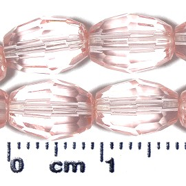 37pc 9x6mm Oval Crystal Cut Glass Spacer Bead Light Pink JF2100