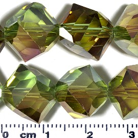 60pc 11mm Cube Crystal Cut Glass Spacer Bead AB Lt Green JF2111