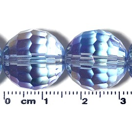 21pc 15mm Ball Crystal Cut Glass Spacer Bead AB Lt Blue JF2125