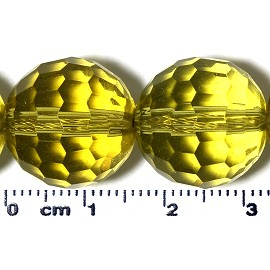 21pc 15mm Ball Crystal Cut Glass Spacer Bead Lt Yellow JF2126