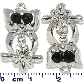 2pcs Rhinestone Owl Dangle Spacers Silver Black JF2203