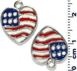 2pcs USA Flag Heart Dangle Spacers Red White Blue JF2205