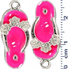 2pcs Flower Sandals Dangle Spacers Silver Hot Pink JF2230