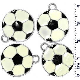 4pcs Flat Soccer Ball Jewelry Part Dangle Spacers White JF2232