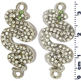 2pcs Snake Rhinestone Jewelry Part Dangle Spacers Silver JF2234