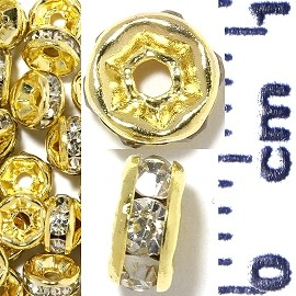 50pc 5mm Rhinestone Wheel Gold Clear JF2238