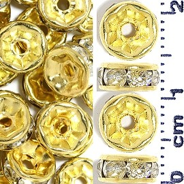50pc 7mm Rhinestone Wheel Gold Clear JF2239