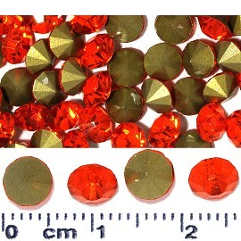 100pcs 6mm Wide Loose Rhinestones Orange Gold JF2241
