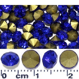 100pcs 6mm Wide Loose Rhinestones Blue Gold JF2242