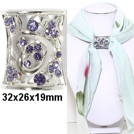 1pc Scarf Ring Pendant Spacer Part Rhinestone PurpleSilver JF225