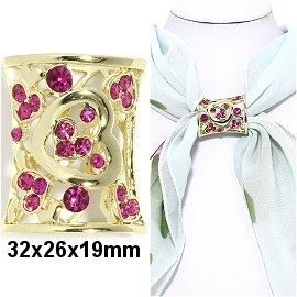 1pc Scarf Ring Pendant Spacer Part Rhinestone Magenta JF2247