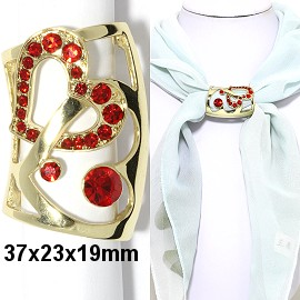 1pc Scarf Ring Pendant Spacer Part Rhinestone Red Gold JF2248