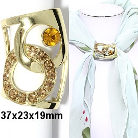 1pc Scarf Ring Pendant Spacer Part Rhinestone Gold Tone JF2249