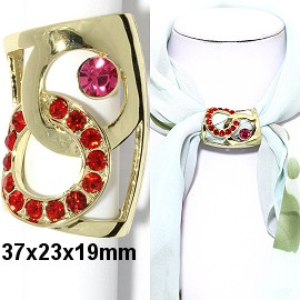 1pc Scarf Ring Pendant Spacer Part Rhinestone Red Gold JF2250