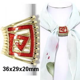 1pc Scarf Ring Pendant Spacer Part Rhinestone Red Gold JF2251