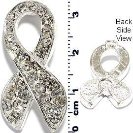 1pc Rhinestone Spacer Ribbon 34mm Tall Silver Tone JF227