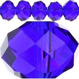 60pc 14mm Spacer Crystal Oval Bead Royal Blue JF243