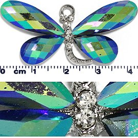 Crystal Spacer Rhinestone Dragonfly Teal Blue Aura JF261
