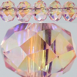 85pc 6mm Spacer Crystal Pink Aura Borealis JF276
