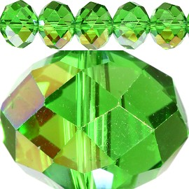 60pcs 14mm Spacers Crystal Beads Green Aura Gold JF280