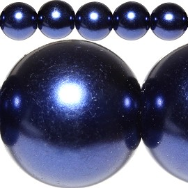 160pc 10mm Faux Pearl Spacer Dark Blue JF294