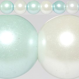 160pc 10mm Faux Pearl Spacer Baby Blue White JF295
